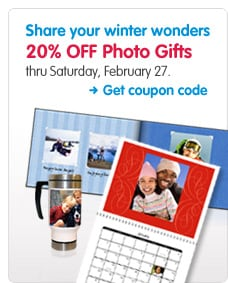 Share your winter wonders 20% OFF Photo Gifts thru Saturday, February 27. Get coupon code >