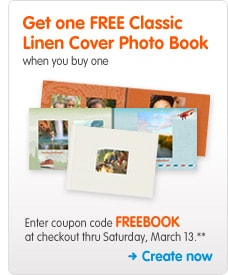 Get one FREE Classic Linen Cover Photo Book when you buy one Enter coupon code FREEBOOK at checkout thru Saturday, March 13.** Create now >