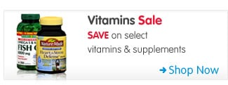 Vitamins Sale SAVE on select vitamins & supplements Shop Now >