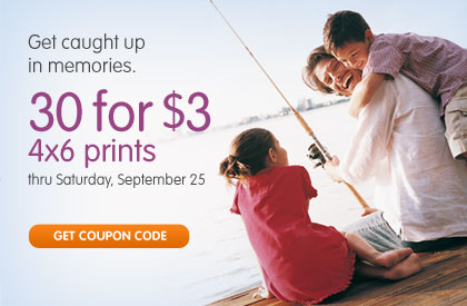Get caught up in memories. 30 for $3 4x6 prints thru Saturday, September 25. GET COUPON CODE
