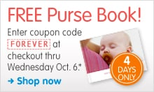 FREE Purse Book! Enter coupon code FOREVER at checkout thru Wednesday Oct. 6.* 4 DAYS ONLY. Shop now.