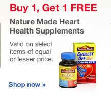 Buy 1, Get 1 FREE Nature Made Heart Health Supplements. Valid on select items of equal or lesser price. Shop now